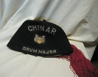 Vintage Grotto Fez Hat Chinar Drum Major Fraternal Co Los Angeles California