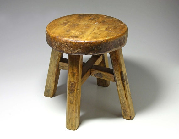 Primitive Wooden Stool Handmade Early 1900 S