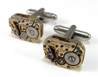 Steampunk Cufflinks, SALE, Distressed Gilver, Vintage SOLDERED Jeweled Watch Mens Cuff Links Groom Wedding Anniversary by compassrosedesign