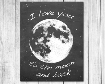 I Love You To The Moon And Back Chalkboard Style Digital Art Print