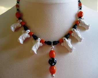 Halloween Necklace Ghost Beads Onyx Quartz Glass Sterling Orange Black White - 20 inches