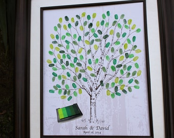 Thumb Print Wedding Tree Fingerprint Guest Book Alternative Unique Guest Book Ideas Personalized Wedding Gift Thumbprint Guest Book Tree