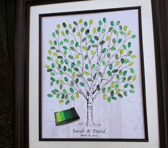 Personalized Thumbprint Tree Wedding Guest Book Alternative: Thumb Print Wedding Tree Fingerprint Guestbook Alternatives