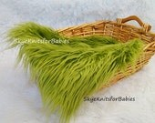 Mongolian Faux Fur Fabric Olive Green, Newborn Photo Prop, Faux Fur Prop, Basket Filler, Backdrop, Prop Fur, Basket Stuffer