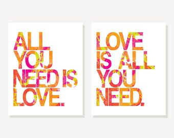 The Beatles Posters All You Need Is Love & Love Is All You Need Song Lyrics Wall Art - Pink, Orange, Green - Set of 2 Art Prints, Many Sizes