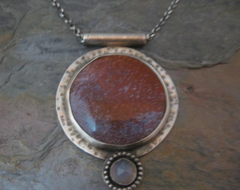 Red Agate Psuedomorph and Blue Chalcedony Cabochon Pendant Necklace Handmade