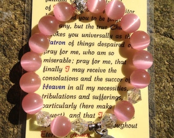 St. Jude pink cat's-eye and crystal protection bracelet