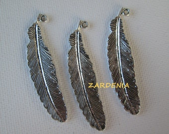 3PCS - Silver Toned - Feather Charms - 51x12mm