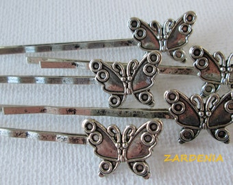 5PCS - Antique Silver Butterfly Hair Pins - 58x13mm - DIY Jewelry Supplies