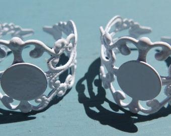 2PCS Filigree Ring Blanks, White Ring Blanks, Ring Supplies, 10mm Blank Pad, White Rings, Diy Crafts, Jewelry Supplies, Zardenia