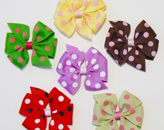 Toddler Girls Polka Dot Hair Bow Set Small Little Toddler Childrens Kids Boutique  Fashion Hair Clip Hairbows (Set of 6)