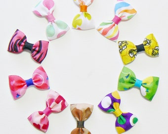 Infant Girls Hair Bow Set Small Tiny Little Baby Newborn Toddler Baby Shower gift Childrens Kids Boutique Hair Clip Hairbows (Set of 10)