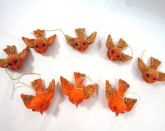 8 Vintage Bird Ornaments Set of 8 Orange Rust Flocked Glitter Ornaments 1970's Birds in Flight Vintage Christmas Ornaments