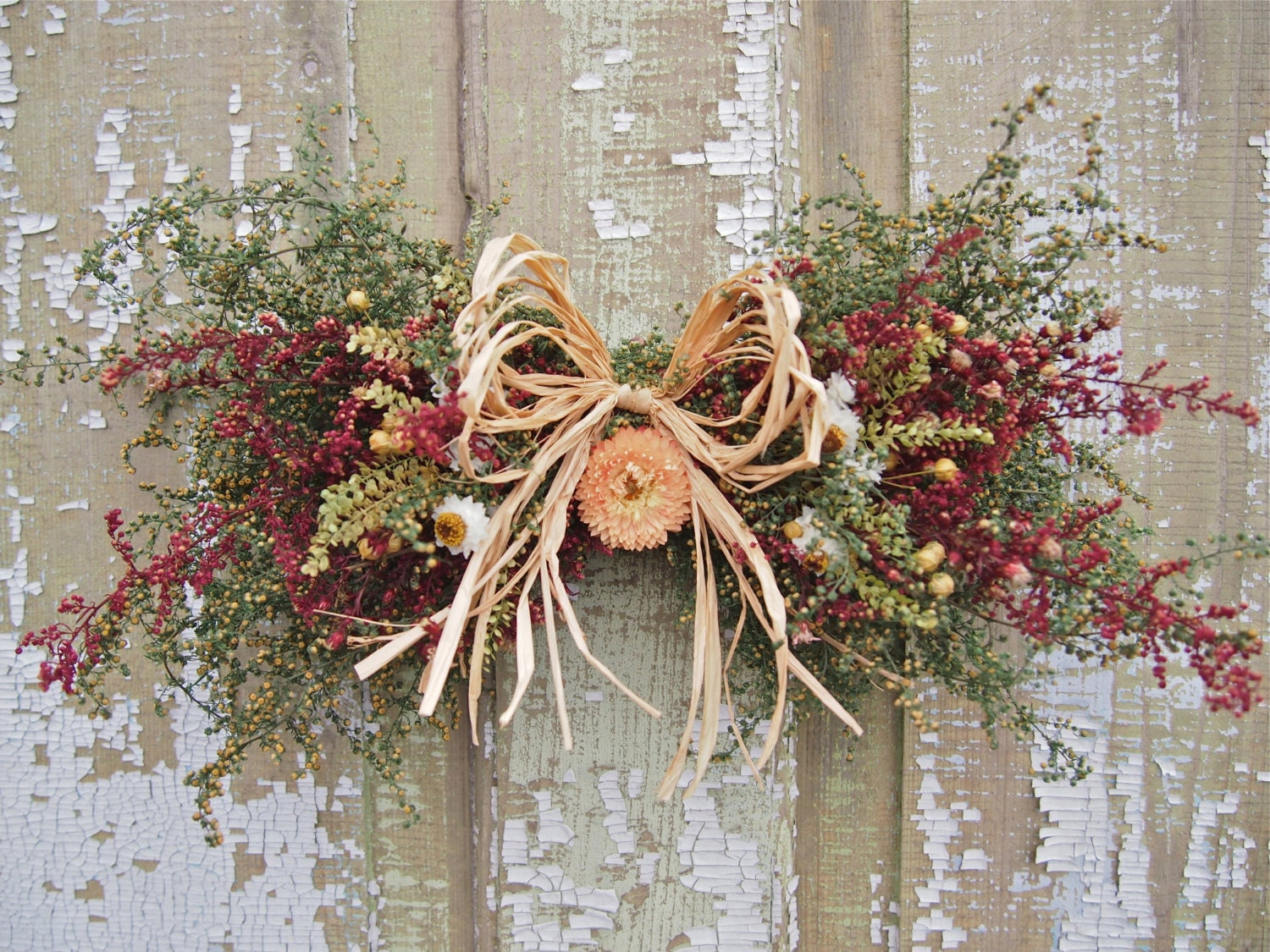 Small Country Dried Flower Swag Rustic And Country Decor