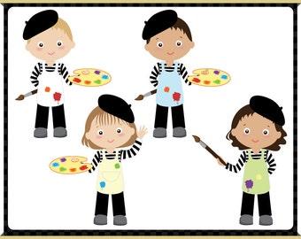 Little Painter Digital Clip Art - Easel - Kids Character - Instant Downloads