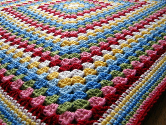 Crochet Afghan Blanket Cath Kidston Colours In Stock Ready To Ship Granny Square