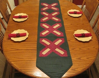 SALE Vintage Handmade Quilted Table Runner-Burgundy Red Green Floral French Country Table Runner-Country Table Runner-Farmhouse Table Runner