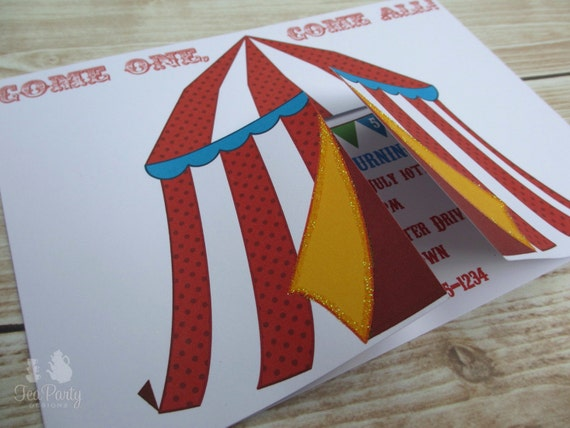 Circus Birthday Party Custom Invitations - Under the Big Top Collection