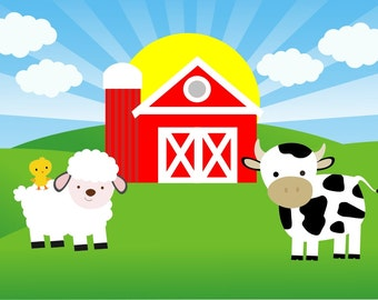 Farm/ Barnyard printable Backdrop