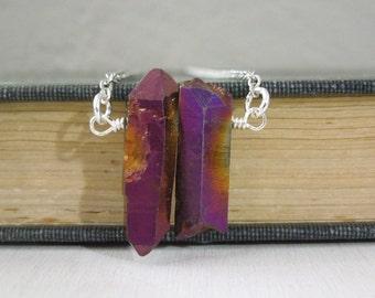 Purple Merlot Aurora Quartz Necklace - Natural Purple Gold Titanium Quartz Crystal Points Pendant Necklace Silver Chain stone no.5