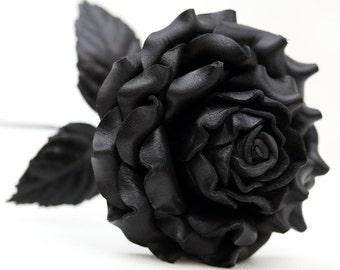 SALE Black Leather Rose Large, Wedding/ 3rd Anniversary Gift Long Stem Flower Valentine's Day Gothic Wedding