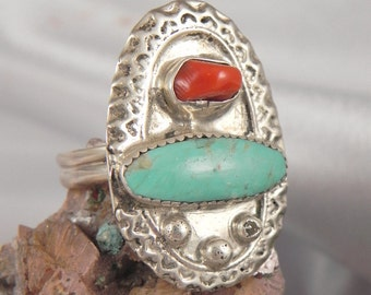 Turquoise Coral Sterling Silver Ring