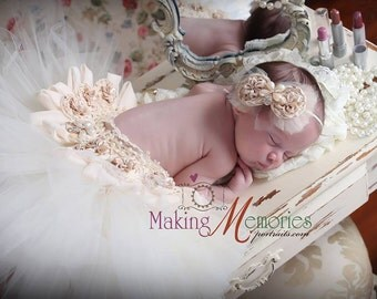 Newborn Baby Girl Tutu Outfit, Newborn tutu, Newborn skirt Set,  Newborn Outfit , ivory Tutu, Photo Prop Newborn  Tutu