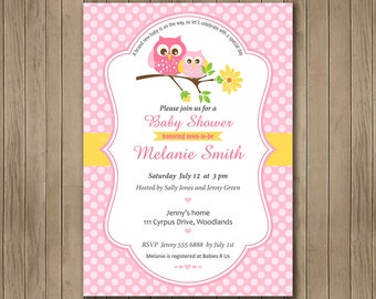 Pink Baby Owl Baby Shower Invitation, It's a Girl baby shower, Digital Invitation