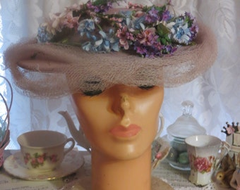 Vintage Ladies Hat-Loaded with Millinery-Baby Blue-Derby-Easter-AWESOME HAT-Union Made