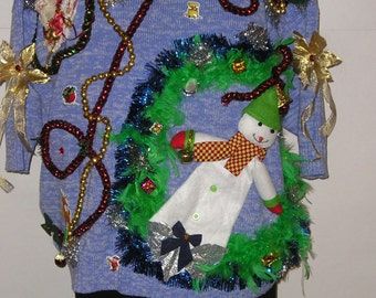 Christmas in July Sale, Ready to Ship - Tacky, Ugly Christmas Sweater, Snowman, Garland, Santa, Gaudy, Ugly Goodness,  Sweater Party,