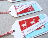 Set of Ten Christmas Fabric Patch Gift Tags - Ready To Ship ~ READY TO SHIP