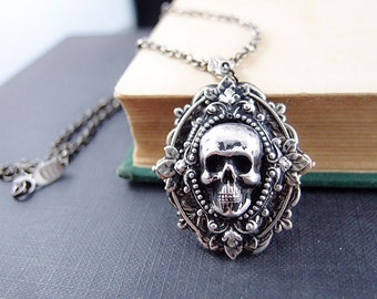 Asmodeus No.3--aged silver brass dragon skull gothic necklace