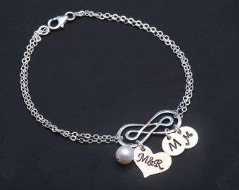 Double Infinity initial bracelet,initial heart bracelet,couple initial,monogram bracelet,Mother jewelry,Grandma,custom font,anniversary gift