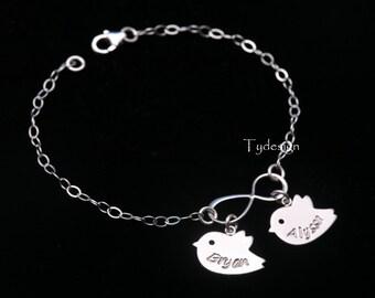 Name plate bracelet,Bird infinity bracelet,custom name disc bracelet,Mother bracelet,Mother's day gift,Figure eight,family name tag bracelet