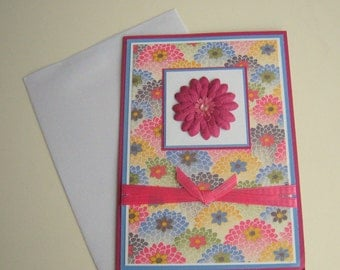 Blank Card Washi Card Floral with Flower Customizable