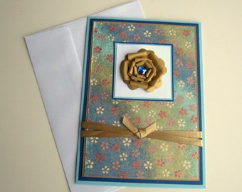 Mothers Day Card Birthday Card Any Occasion Customizable Card Blue and Teal Floral Blank Inside- You Choose Sentiment on Front