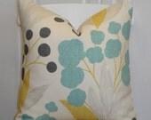 KRAVET - Decorative Pillow Cover - Accent Pillow - Aqua Turquoise - Yellow - Charcoal Grey - Berries - Capparis in Sunshine