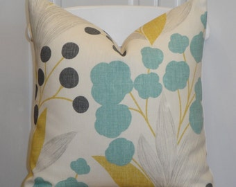 KRAVET - Decorative Pillow Cover - Accent Pillow - Aqua Turquoise - Yellow - Charcoal Grey - Berries - Capparis in Sunshine