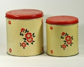 Vintage Kitchen Tin Canisters Set of 2 Red and White Flower decorated from Decoware