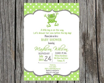 Frog  Baby Shower Invitation-  Frogs, little boy shower, baby boy shower, custom and printable