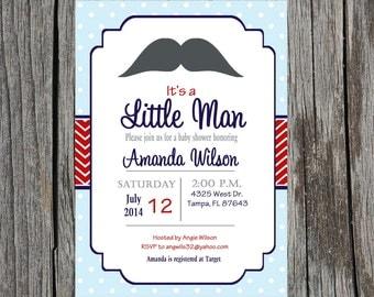 Printed Little Man Baby Shower Invitation, baby boy, mustache baby shower, little man, printed invitations