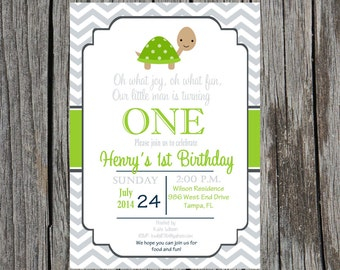 Turtle birthday party Invitation, turtles invitation, birthday party, turtles, custom and printable