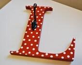 Letter hook Letter coat hook Personalized coat hook Red white dot L hook