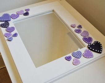 heart mirror wooden mirror with hearts wall mirror with hearts