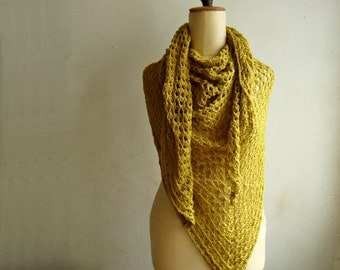 Summer Cotton Shawl Large Crochet Triangle Scarf Wrap