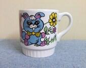 1960s Trippy Easter Bunny Rabbits Mug - Ceramic England