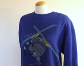 Kliban Ski Cat Sweatshirt - Size Large - Hawaii Crazy Shirt