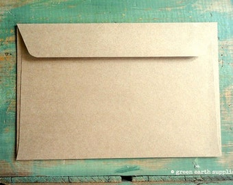 "25 6x9 Kraft Envelopes: eco-friendly envelopes, recycled envelopes, grocery bag kraft brown, 6""x9"" booklet envelopes, (15.2 cm x 22.9 cm)"