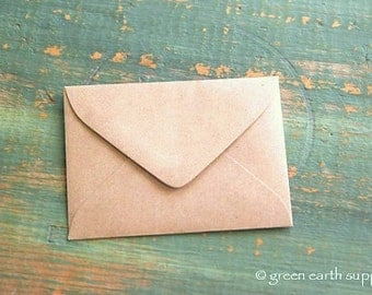 "100 mini Kraft brown Envelopes: 3 5/8"" x 2 5/8"" Kraft grocery bag, eco-friendly envelopes, mini envelopes, ACEO envelopes, ATC envelopes"