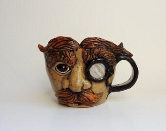 Face Mug - Toby Jug - Wheel Thrown Pottery - Sculpted Pottery  Face - Left Handed Mug - Red Head Sculpture - Pottery Mug